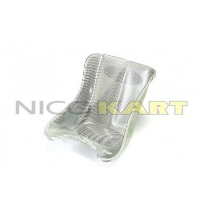 Sedile TOP KART in vetroresina simil carbonio bianco