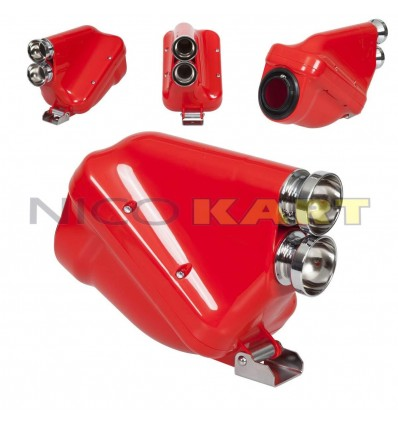 Silenziatore d'aspirazione ACTIVE colore rosso con tromboncini cromati