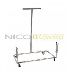 Carrello porta kart/espositore verticale cromato con ruote