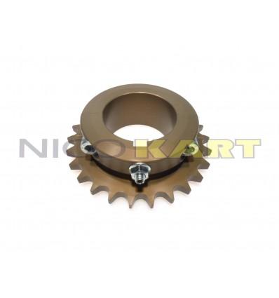 Corona CNC in ergal passo 1/2-428 per 125 KZ diametro 50mm taglio chiusura zero, chiavetta 8mm.