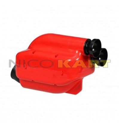 Silenziatore d'aspirazione NOX 2 omologa 2019 colore rosso con tromboncini neri D.30mm per categoria KZ/KZ2