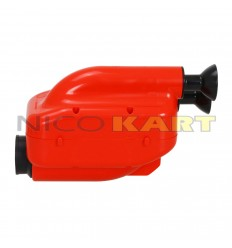 Silenziatore d'aspirazione NOX 2 omologa 2019 colore rosso con tromboncini neri D.23mm per categoria OK/OKJ